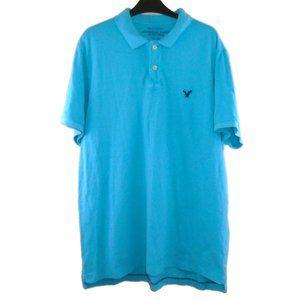 AEO Mens Polo Shirt XXL Athletic Fit Blue EUC